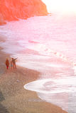 Famiglia del bambino del padre della madre che cammina sul tono morbido della spiaggia Fotografia Stock Libera da Diritti