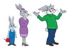 Famiglia del coniglio Fotografia Stock