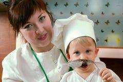Famiglia del cuoco Fotografie Stock