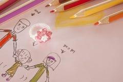 Famiglia del disegno del bambino per il giorno di S. Valentino. Fotografie Stock Libere da Diritti