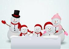 Famiglia del fondo di natale del pupazzo di neve royalty illustrazione gratis