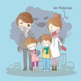 Famiglia del fumetto con inquinamento atmosferico illustrazione vettoriale