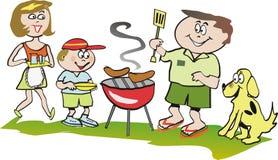 famiglia del fumetto del barbecue illustrazione vettoriale