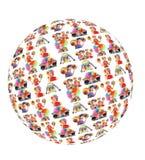 Famiglia del pagliaccio con il globo dell'ombrello del cappello del Rainbow Fotografie Stock