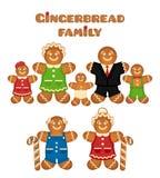 Famiglia del pan di zenzero Fotografia Stock