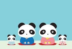 Famiglia del panda Fotografia Stock Libera da Diritti