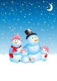 Famiglia del pupazzo di neve di natale Immagine Stock Libera da Diritti