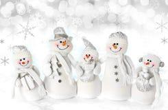 Famiglia del pupazzo di neve di natale Fotografia Stock Libera da Diritti
