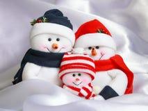 Famiglia del pupazzo di neve di natale - foto di riserva Immagine Stock Libera da Diritti