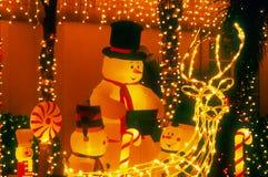 Famiglia del pupazzo di neve - notte fotografie stock libere da diritti