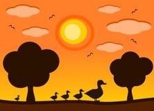 Famiglia dell'anatra nell'illustrazione del fumetto di tramonto Immagine Stock