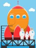 Famiglia dell'atronauta in spaceport Immagini Stock