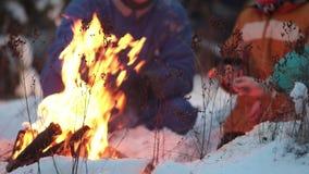Famiglia della foresta A di inverno che si siede nel legno dal fuoco, bevande calde beventi dai termos e friggente le salsiccie archivi video
