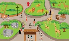 Famiglia della gente del fumetto dello zoo con l'illustrazione di vettore di scena degli animali Fotografia Stock