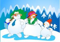 Famiglia della neve Immagini Stock