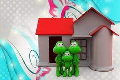 famiglia della rana 3d con l'illustrazione domestica Fotografie Stock