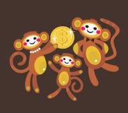 Famiglia della scimmia con il dollaro Immagine Stock