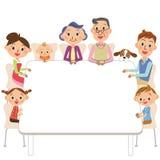 famiglia della Tre-generazione che si siede su una tavola illustrazione di stock