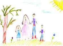Famiglia della vernice dei bambini in natura di estate Fotografia Stock Libera da Diritti
