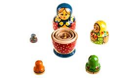 Famiglia delle bambole di Matryoshka del Russo Fotografie Stock