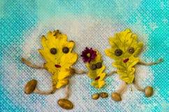 Famiglia delle foglie di autunno Fotografia Stock