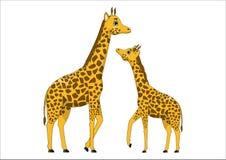 Famiglia delle giraffe sveglie del fumetto Fotografie Stock