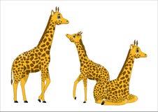 Famiglia delle giraffe sveglie del fumetto Immagini Stock