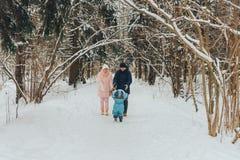 Famiglia di camminata con un bambino La famiglia cammina in natura nell'inverno Passeggiata della famiglia di inverno in natura M immagine stock libera da diritti