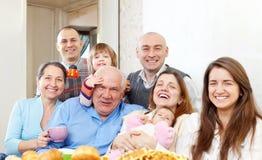 Famiglia di diverse generazioni felice Immagini Stock Libere da Diritti