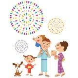 Famiglia di felicità per vedere i fuochi d'artificio Immagine Stock Libera da Diritti