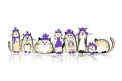 Famiglia di gatti divertente per la vostra progettazione Fotografie Stock