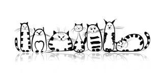 Famiglia di gatti divertente per la vostra progettazione Fotografia Stock Libera da Diritti