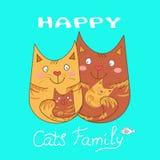 Famiglia di gatti felice Fotografia Stock Libera da Diritti