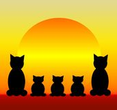 Famiglia di gatto illustrazione di stock