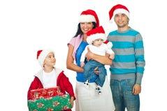 Famiglia di natale felice Fotografie Stock