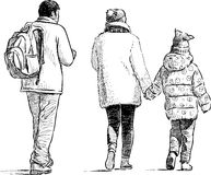 Famiglia di passeggiata Immagine Stock Libera da Diritti