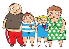 Famiglia di peso eccessivo grassa illustrazione vettoriale