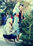 Famiglia di quattro che sceglie X-albero al mercato Fotografia Stock