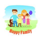 Famiglia di quattro felice e cane, posanti insieme, illustrazione Immagini Stock Libere da Diritti