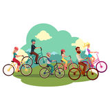 Famiglia di quattro - padre, madre, figlia, figlio - biciclette di guida illustrazione di stock