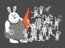 Famiglia di Rabbits.big Fotografia Stock