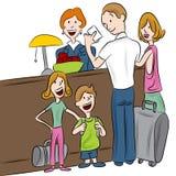 Famiglia di registrazione dell'hotel Immagini Stock