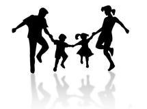 Famiglia di salto Fotografia Stock Libera da Diritti