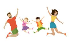 Famiglia di salto felice del fumetto, gente sorridente sveglia, illustrazione vettoriale