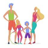 Famiglia di sport isolata Papà, madre, figlio e figlia pronti a fare vettore minimalistic astratto di stile di forma fisica illustrazione di stock