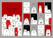 Famiglia divertente degli orsi bianchi Calendario 2018 di progettazione immagini stock libere da diritti