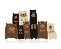 Famiglia divertente degli orsi, schizzo per la vostra progettazione illustrazione vettoriale