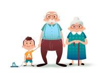 Famiglia divertente del fumetto Nonno, grangmother e nipote felici Tenersi per mano del ragazzino e del nonno Famiglia felice Fotografia Stock