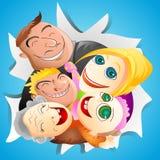 Famiglia divertente sul fondo della carta blu Fotografie Stock