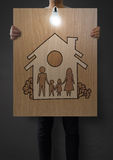 Famiglia e casa di tiraggio della mano Fotografia Stock
